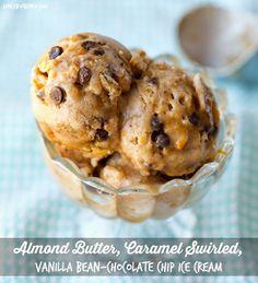 Vegan Treat! Almond Butter, Caramel Swirled, Vanilla Bean-Chocolate Chip Ice Cream #vegan #dessert