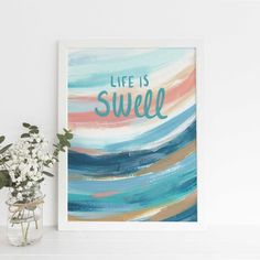That's Swell Beach Quote Poster Modern Coastal Decor Surfer Nursery Wall Art Print or Canvas Pink Wall Art, Nursery Wall Art, Wall Art Decor, Nursery Decor, Beach Chic Decor, Surf Decor, Abstract Ocean Painting, Abstract Paintings, Canvas Designs