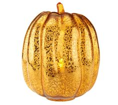 Orange Mercury Glass Pumpkin w/Flameless Candle by Home Reflections