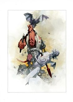 """""""Watercolor over ink wash with a little gouache and colored black pencil--"""" Comic Book Pages, Comic Book Artists, Comic Artist, Watercolor Illustration, Watercolor Art, Mike Mignola Art, Ink Illustrations, American Comics, Horror Art"""