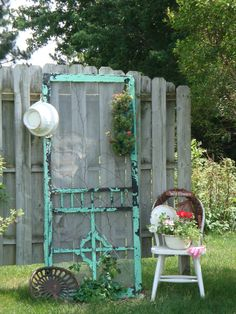 old screen door in the yard