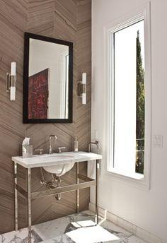 View the portfolio of interior designer Wendy Haworth Design in West Hollywood, CA House Design, Bathroom Inspiration, Chevron Bathroom, Beautiful Bathrooms, Herringbone Wall, Stone Tile Bathroom, Chevron Tile, Eclectic Bathroom, Backsplash With Dark Cabinets