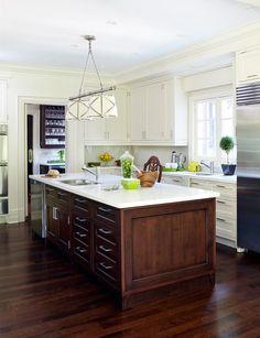 dark center island with a white kitchen