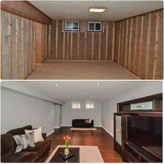 Basement rec room renovation before and after #riptidehouse