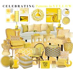Celebrating Patterns in Yellow by aprimmdesign on Polyvore featuring polyvore, interior, interiors, interior design, home, home decor, interior decorating, angelo:HOME, Surya, nuLOOM, Anne-Claire Petit, Pols Potten, Ethan Allen, Bungalow 5, Muuto, Emissary, Sur La Table, Kartell, Emma Bridgewater, DENY Designs, Trina Turk LA, Serena & Lily, V Rugs & Home, Dessau Home, Spécimen Editions, Jil Sander, Rebecca Minkoff, Susanna Valerio, Padma's Plantation, Majestic Home Goods, Episode and Oliver…