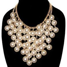 18mm Layered Pearls Necklace with 2 Rows Gold Plated Vintage Chain; Just like Caroline Channing's on 2 Broke Girls! Love it!