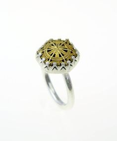 Filigree button ring set in sterling silver
