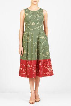 I <3 this Floral embellished colorblock stretch poplin dress from eShakti