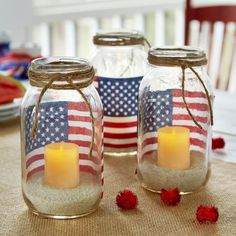 Brighten your home or patio with these patriotic American Flag Mason Jar Votive Holders.