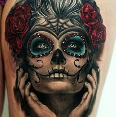 In the Presence of a Goddess tattoo celebrate the Lady of the Dead with symbols of life as well. Description from tattooeasily.com. I searched for this on bing.com/images