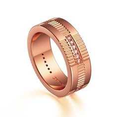Original 14K Rose Gold Diamond Modern Mens Band G1155-14KRGD