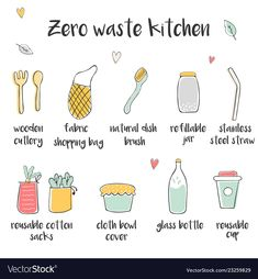 Big set of icons for zero waste kitchen vector image on VectorStock Zero Waste, Adobe Illustrator, Hand Drawn, Vector Free, How To Draw Hands, Web Design, Pdf, Bullet Journal, Icons