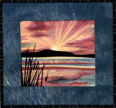 Awesome landscape quilt - lovely cattails, bird, sun! by Hercio Dias