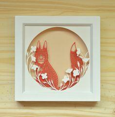 fox . 5 x 5 . cut paper shadow box