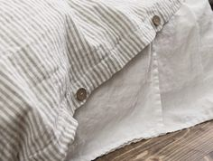 Natural Linen Striped Duvet Cover Stonewashed Linen Shabby