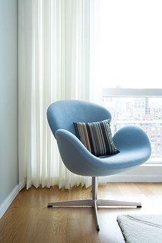 Swan Chair, Arne Jacobsen Swan, baby blue swan chair, Swan chair in bedroom corner