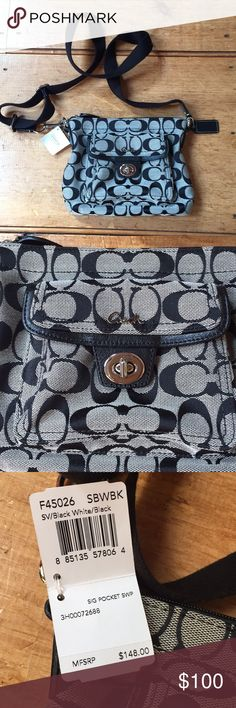Signature Coach crossbody bag NWT Brand new with tags! Very cute and stylish, small handbag. One small pocket on the outside, no pockets inside. Great for traveling or just wanting to be hands free! Coach Bags Crossbody Bags