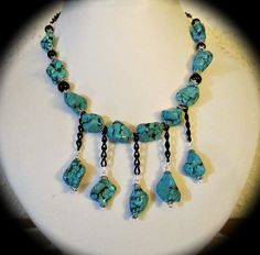 turquoise beads and black chain