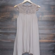I think this would make a better shirt than dress - mykonos crochet lace dress - taupe