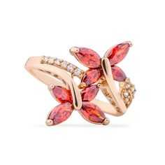 <p>Two red Cubic Zirconia butterflies are flying around you finger, that sound great. This couple Butterflies Cubic Zirconia Ring means passion, love, vitality, it is a good wish for the life. Made of