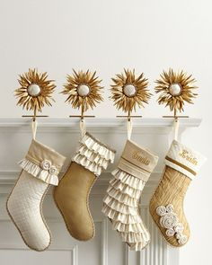 These Champagne Frost Christmas Stockings ($120-$122) have pale gold | 10 Holiday Stockings Filled With Style (Not Coal) | POPSUGAR Home Photo 6
