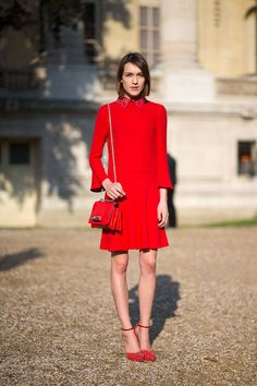 I must say I'm starting to get exited about all red outfits... Can't wait to get Bimba & Lola long sleeve Red dress out of closet, shoes? Bimba & Lola leopard pointed flats <3    The Top 8 Street Style Trends: Spring 2015  - HarpersBAZAAR.com