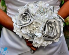 Couture Rose Bouquet ~silver satin flowers & crystal brooches