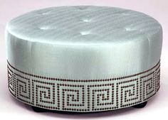 Dana Round Ottoman  w/Greek Key Design (Barry Dixon)