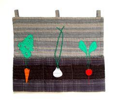 Gardeners Delight, Wall Pocket, handy storage, seeds pocket, wall decor, carrot garlic radish applique, neutral dark colors