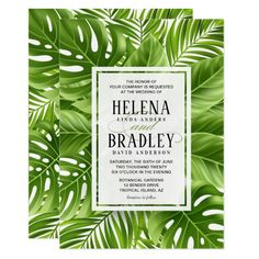 These elegant tropical leaves wedding invitations are perfect for when you're planning a destination wedding in the tropics. Matching RSVP cards, save the dates, etc. are available!