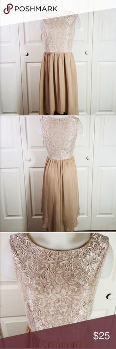 En Focus Studio Lace Beige High-Low dress En Focus Studio Lace Beige  High-Low dress. Lace top f4cdaa2e9