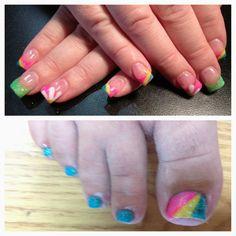 Rainbow nails & toes -Sarah Coulson Leilani Salon & Spa