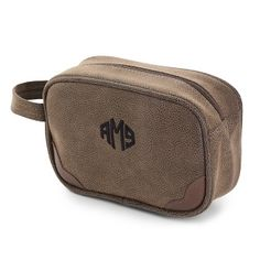 Personalized Men's Brown Toiletry Case , Add Your Message
