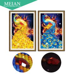 Meian,Special Shaped,Diamond Embroidery,Animal,Peacock,5D,Diamond Painting,Cross Stitch,3D,Diamond Mosaic,Decoration,Christmas
