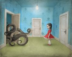 Artwork by Nicoletta Ceccoli--in many cltures,like the Japanese,octopus has been connected with erotic connotations and it has been used a lot in pornography too (wikipedia-tentacle erotica) Art Bizarre, Weird Art, Strange Art, Mark Ryden, Le Kraken, Arte Lowbrow, Art Fantaisiste, Motif Art Deco, Arte Horror