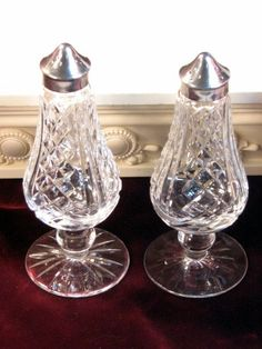 Waterford Crystal Lismore Silver Footed Salt and Pepper Shaker Set