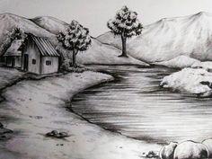 Tree Drawings Pencil, Pencil Sketch Drawing, Dark Art Drawings, Art Drawings Sketches, Scenery Drawing Pencil, Pencil Sketches Landscape, Landscape Drawings, Nature Sketch, Nature Drawing