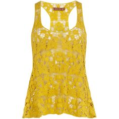 Yellow crochet vest top ($29) ❤ liked on Polyvore