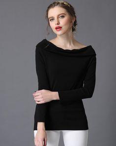 Black Long Sleeve Boat Neck Cotton Blouse, Black, Irina Miro | VIPme