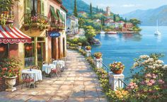 Wall Murals Wallpaper | Overlook Cafe Wallpaper Wall Mural | Italian Murals | Free Shipping