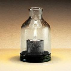 """Candle Lamp 934 4 1/2"""" Glass Lantern Table Lamp - Clear"""