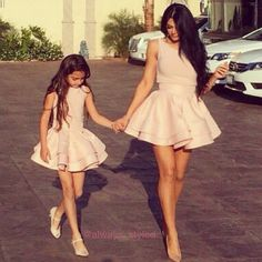 Mom daughter matching outfits are perfect to sport on the mother's day. Explore unique ideas for stylish and gorgeous matching dresses for mother and daughter Mom Daughter Matching Outfits, Mommy And Me Outfits, Matching Family Outfits, Kids Outfits, Simple Prom Dress, Mom Dress, Cheap Evening Dresses, Sexy Dresses, Prom Dresses