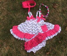 NEW Baby Girls Pink Gray Chevron Swing Top Bloomer Set Necklace Hair 6M 9M 12M #DressyEverydayHoliday