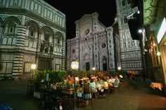 My absolute FAVORITE place to walk around in the summer air in the night is by and around the Duomo and Baptistry in Florence Italy.