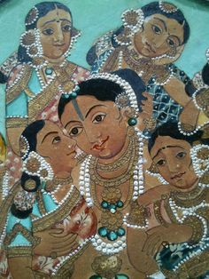 Krishna with consorts - detail. Mineral Water colour, Gold foil & makki safeda.