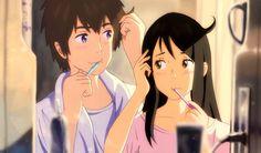 Animator : Shinkai Makoto, Kimi no na wa, Your name, Tachibana Taki, Miyamizu Mitsuha Kimi No Na Wa, Your Name Movie, Your Name Anime, Ghibli, Mitsuha And Taki, Anime Manga, Anime Art, Anime Triste, Animation
