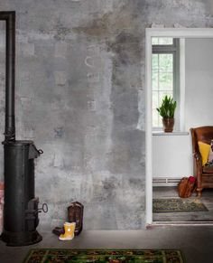 Dusty Patina wallpaper mural designed by Mr Perswall Grey Concrete Wallpaper, Wood Burner Stove, Faux Painting Walls, Venetian Plaster Walls, Concrete Interiors, Cement Walls, Concrete Architecture, Industrial Interior Design, Concrete Design