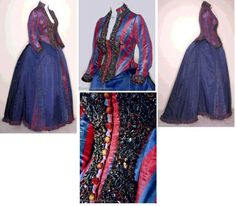 Red and blue striped bustle dress with a heavily beaded trimmed bodice