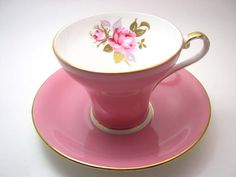 Pink Aynsley Tea Cup and Saucer  Aynsley  tea cup by BeadsbyVince