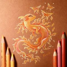 Rainbow dragon by AlviaAlcedo on DeviantArt Cute Animal Drawings, Cool Art Drawings, Art Drawings Sketches, Cute Fantasy Creatures, Mythical Creatures Art, Cute Dragon Drawing, Dragon Drawings, Fantasy Drawings, Fantasy Artwork